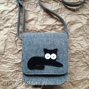 na ramię torebka filcowa, torebka, listonoszka, kotek, prezent, kotem