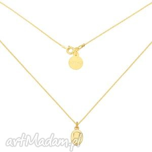 Złoty łańcuszek z medalikiem - ,naszyjnik,zawieszka,wisiorek,medalik,łańcuszek,złoty,