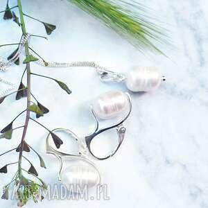 srebrny piękny klasyczny komplet z perłami, srebro, srebrne, biżuterii