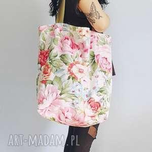 hand-made na ramię torba w kwiaty xxl