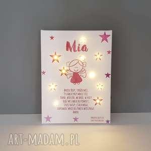 handmade pokoik dziecka pamiątka chrztu świecący obraz led modlitwa aniołek lampka gwiazdki prezent na chrzest chrzciny