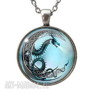 księżycowy smok - duży medalion z łańcuszkiem - niebieskie