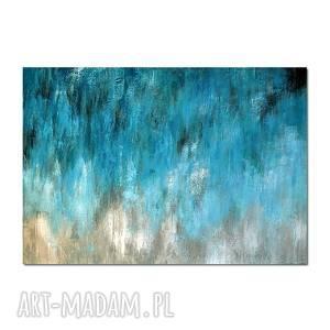 Blue Lagoon /2/, abstrakcja, nowoczesny obraz ręcznie malowany,