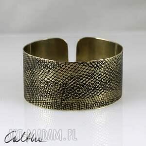 *Wężowa - mosiężna bransoletka, bransoleta, szeroka, mosiężna, złota