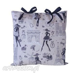 poduszka dekoracyjna zakupy w paryżu, poduszka, nadruk, paryż, shabby, chic, kokardki