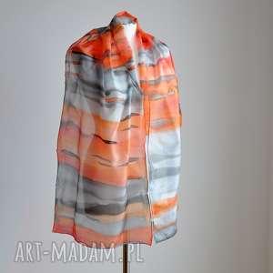 jedwabny, malowany szal - abstrakcja - pomarańcze i szarości, jedwabny