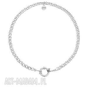 srebrny masywny łańcuch z ozdobnym zapięciem, ozdobne, gruby