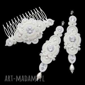 komplet ślubny glamire crystal soutache, sutasz, kryształki, cyrkonie, ślub