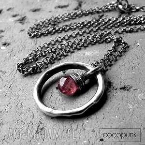 naszyjniki naszyjnik z kółkiem- srebro i surowy turmalin, kompletsrebro, różowy