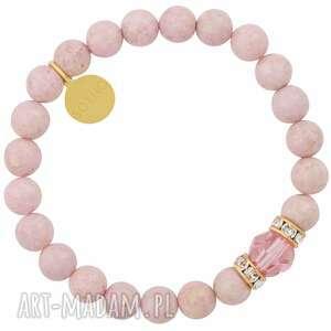 hand made dla dziecka jasnoróżowa dziecięca bransoletka marmur z kryształami swarovski® elements