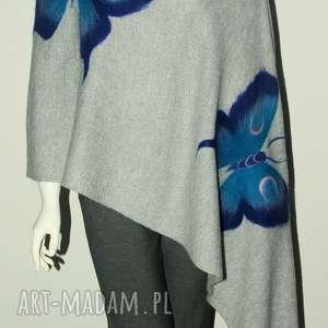 szal wełną zdobiony - motyle, prezent, kwiaty, filcowanie, wełna