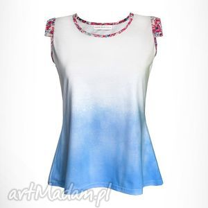 bluzki bawełniany top blue garden, biały, bluzka, top, koszulka, biała, niebieski