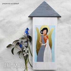 obrazek na pamiątkę pierwszej komunii Świętej dla dziewczynki, anioł stróż