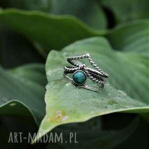 boho pierścionek z kuprytem, srebro, biżuteria, potrójny pierścionek