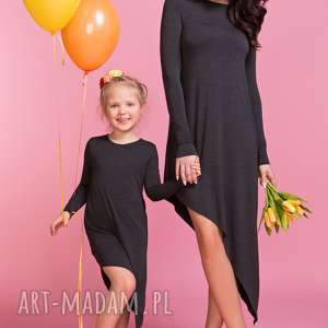 asymetryczna sukienka z długim rękawem mama tm3, kolor ciemnoszary
