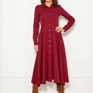 długa, koszulowa sukienka, suk190 bordo, polski produkt, wysokiej jakości