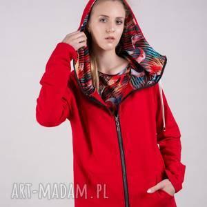 Bluza damska na zamek Summer-Me-Czerwona wzór, bluzy, spodnie, sukienki, bluzki