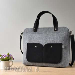 elegancka szara filcowa torebka na laptopa, laptop, filc, szara, torebka, laptopa