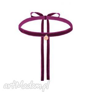 ręcznie wykonane naszyjniki purpurowy aksamitny choker z zawieszką w różowym