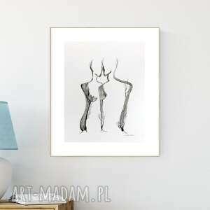 plakaty grafika 40x50 cm malowana ręcznie, abstrakcja, styl skandynawski, czarno-biała