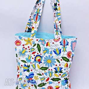 torba na zakupy shopperka kaszubska błękitna, torba, zakupy