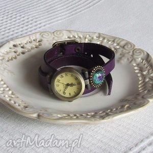 handmade zegarki zegarek vintage z grafiką skórzany fioletowy