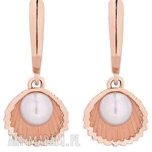 kolczyki z muszelkami i perłą swarovski® crystal z różowego