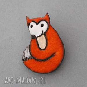 lisica-broszka ceramiczna - minimalizm, skandynawski, spryciara, prezent, przypinka