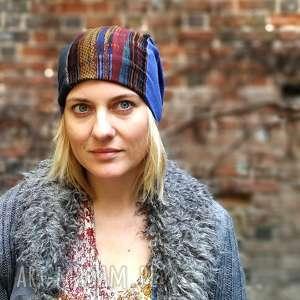 patchworkowa kolorowa wiosenna damska czapka etno - czapka, etno, boho, wiosna, patchwork