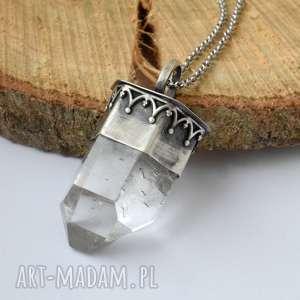 Prezent Naszyjnik z kryształem, kryształ-górski, wahadło, oryginalny, srebrny