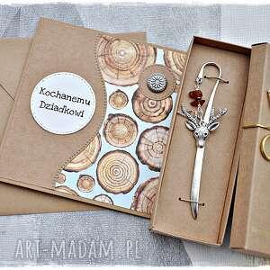 scrapbooking kartki prezent dla dziadka - zakładka do książki i kartka