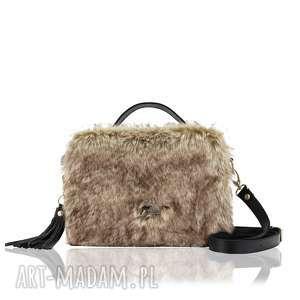 na ramię torebka hanza 1361, pojemna, futro, jesień, na-zamek, do-ręki, świąteczny