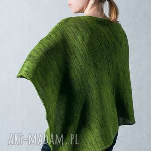 Ponczo zielone - melanż, ponczo, wełna, uniwersalne