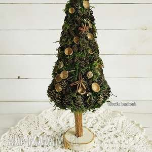 choinka z szyszek i mchu - ozdoba świąteczna, boże narodzenie