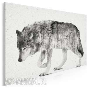 obraz na płótnie - wilk czarno-biały 120x80 cm 14202, wilk, zwierzę, skandynawski