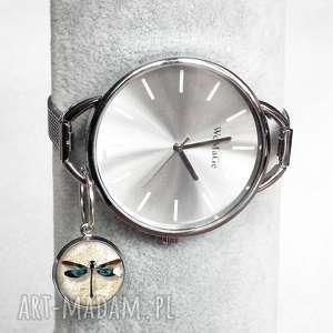 duży zegarek damski zawieszka z ważką, modny, srebrny, zawieszki, ważka, owady