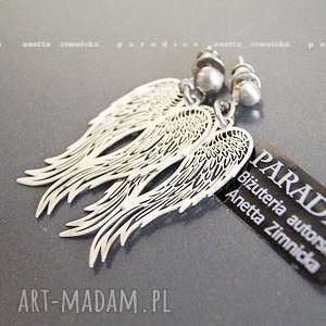 SREBRO, koczyki srebrne Anioły, zawieszki, skrzydła, srebro, sztyfty