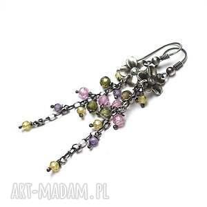 święta, spring flower - kolczyki, srebro, oksydowane, kwiaty, cyrkonie, pastele