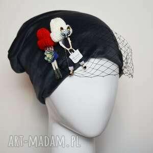czapki welurowa czapka, welur, szary