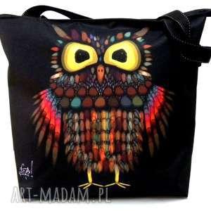 torba na zamek z motywem sowy, xxl, sowa, pojemna, ramię torebki