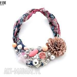 flow naszyjnik handmade - naszyjnik, kolorowy, wielobarwny, różowy, kwiaty