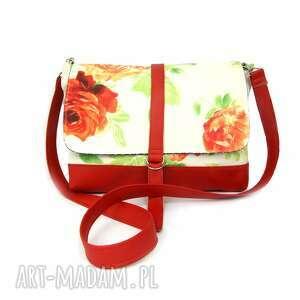 torebki listonoszka czerwona w kwiaty, listonoszka, impreza
