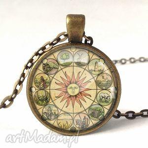 słoneczne dni - medalion z łańcuszkiem - naszyjnik, medalion, słońce