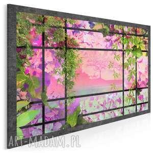 obraz na płótnie - ogród okno 120x80 cm 31201, ogród, okno, kwiaty, rośliny