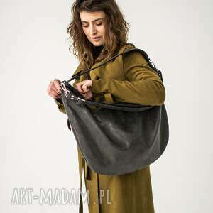 Grafitowa torba worek z zamszu ekologicznego torebki bags