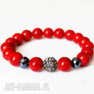 Bransoleta red marble, Swarovski ki,