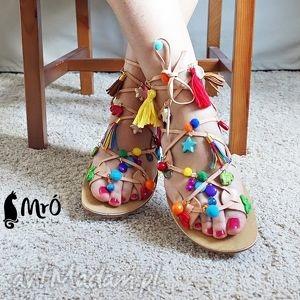 kolorowe rzymianki zdobione ręcznie, sandały, rzymianki, greckie