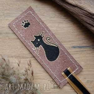 Prezent Skórzana malowana zakładka do książki Kotełek, kot, koteł, łapka, zakładka,