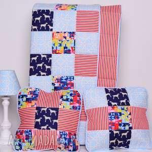 hand made pokoik dziecka narzuta dalmatian holiday 95x150cm i 2 poduszki, patchwork od majunto