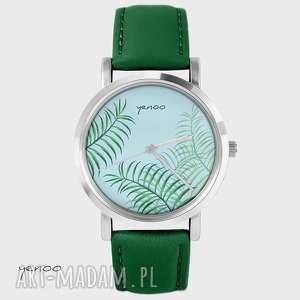 ręcznie wykonane zegarki zegarek - liście, palmy, dżungla - skórzany, zielony